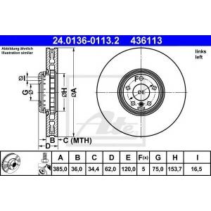 ATE 24.0136-0113.2 Тормозной диск Бмв Х5