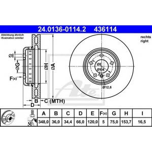 ATE 24.0136-0114.2 Тормозной диск Бмв 5
