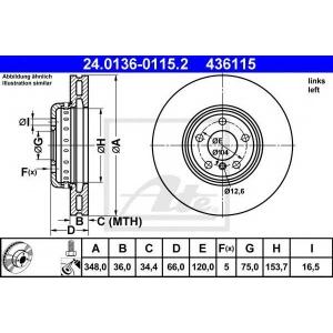 ATE 24.0136-0115.2 Тормозной диск Бмв 5