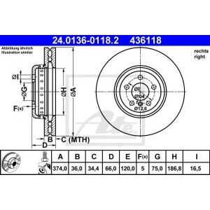 ATE 24.0136-0118.2 Тормозной диск Бмв 5