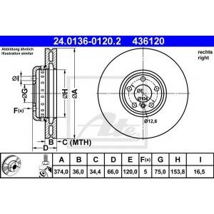 ATE 24.0136-0120.2 Тормозной диск Бмв 5