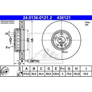 ATE 24.0136-0121.2 Тормозной диск Бмв 5