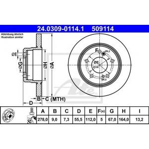 ATE 24.0309-0114.1 Тормозной диск Мерседес Цлк