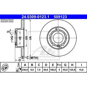 ATE 24.0309-0123.1 Тормозной диск Ауди Тт