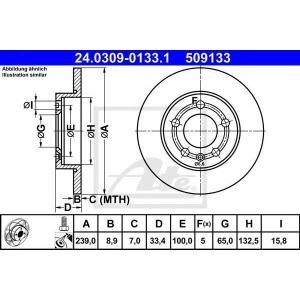 ATE 24.0309-0133.1 Тормозной диск Ауди Тт