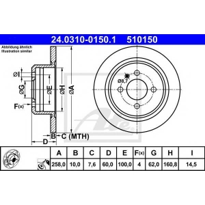 ATE 24.0310-0150.1 Тормозной диск Бмв 3