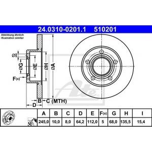 ATE 24.0310-0201.1 Тормозной диск Ауди А6