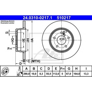 ATE 24.0310-0217.1 Тормозной диск Мерседес Цлк