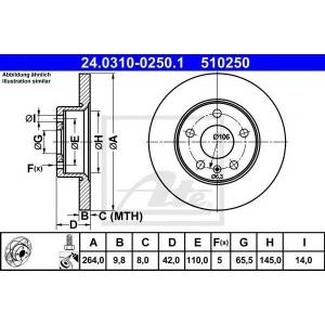 ATE 24.0310-0250.1 Тормозной диск Опель Зафира