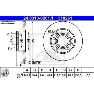 ATE 24.0310-0261.1 Тормозной диск Ауди 80
