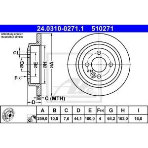 ATE 24.0310-0271.1 Тормозной диск Мини