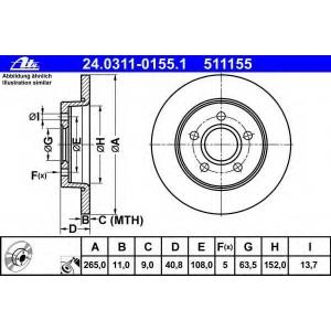 ATE 24.0311-0155.1 Тормозной диск Форд Фокус Ц-Макс