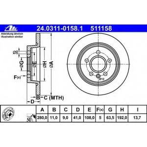 ATE 24.0311-0158.1 Тормозной диск Форд Фокус Ц-Макс