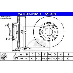 ATE 24.0313-0161.1 Тормозной диск Опель Аскона