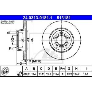 ATE 24.0313-0181.1 Тормозной диск Ауди А4