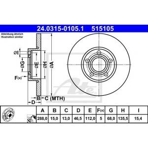 ATE 24.0315-0105.1 Тормозной диск Ауди А6