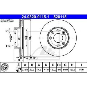 ATE 24.0320-0115.1 Тормозной диск Опель Аскона