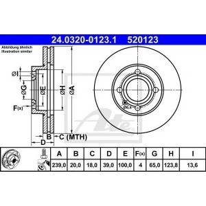 ATE 24.0320-0123.1 Тормозной диск Ауди Купе