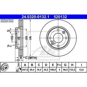 ATE 24.0320-0132.1 Тормозной диск Ситроен Зх