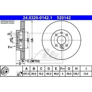 ATE 24.0320-0142.1 Тормозной диск Фиат Барчетта