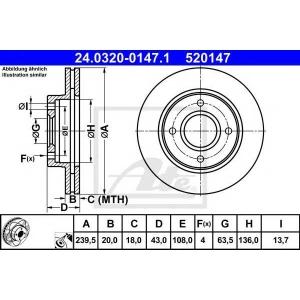 ATE 24.0320-0147.1 Тормозной диск Форд Фиеста