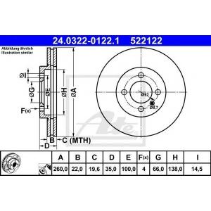 ATE 24.0322-0122.1 Тормозной диск Бмв З1