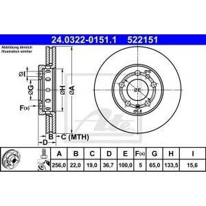 ATE 24.0322-0151.1 Тормозной диск Ауди А1