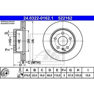 ATE 24.0322-0162.1 Тормозной диск Мерседес Вито