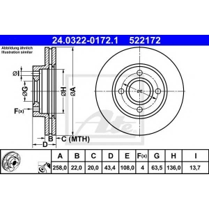 ATE 24.0322-0172.1 Тормозной диск Форд Фьюжн