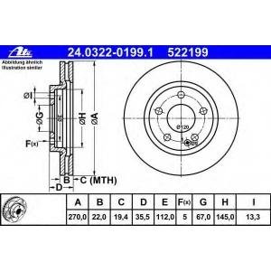 ATE 24.0322-0199.1 Тормозной диск Мерседес Ванео