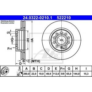 ATE 24.0322-0210.1 Тормозной диск Ауди А3 Спортбек