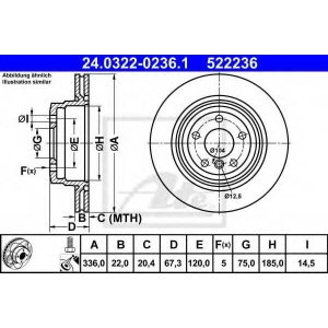 ATE 24.0322-0236.1 Тормозной диск Бмв Х1