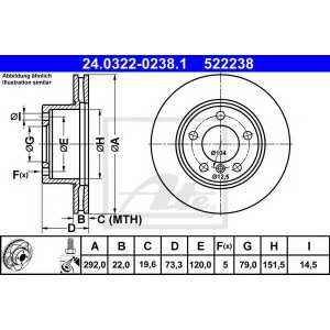 ATE 24.0322-0238.1 Тормозной диск Бмв 1