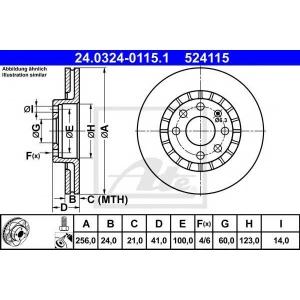 ATE 24.0324-0115.1 Тормозной диск Дэу Есперо