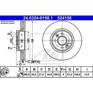 ATE 24.0324-0158.1 Тормозной диск Рено Сценик