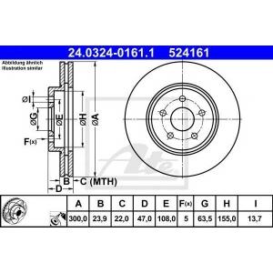 ATE 24.0324-0161.1 Тормозной диск Ягуар Икс Тайп