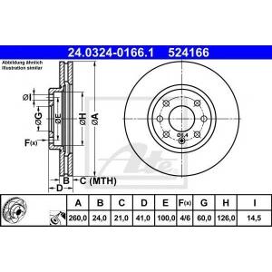 ATE 24.0324-0166.1 Тормозной диск Опель Тигра