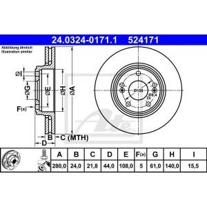 ATE 24.0324-0171.1 Тормозной диск Рено Сафране