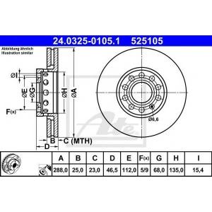 ATE 24.0325-0105.1 Тормозной диск Ауди А6