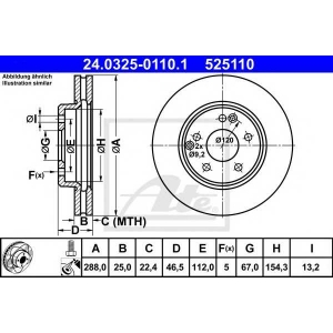 ATE 24.0325-0110.1 Тормозной диск Мерседес Цлк
