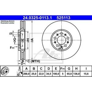 ATE 24.0325-0113.1 Тормозной диск Ауди А1