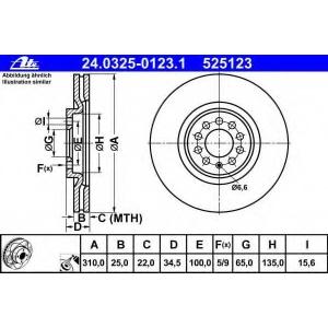 ATE 24.0325-0123.1 Тормозной диск Ауди Тт
