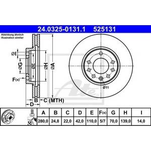 ATE 24.0325-0131.1 Тормозной диск Опель Зафира