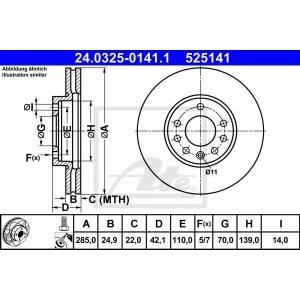 ATE 24.0325-0141.1 Тормозной диск Фиат Хрома