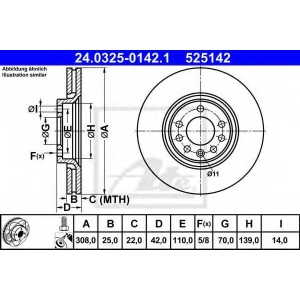 ATE 24.0325-0142.1 Тормозной диск Опель Зафира