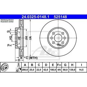 ATE 24.0325-0148.1 Тормозной диск Опель Комбо
