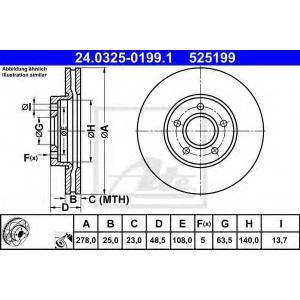 ATE 24.0325-0199.1 Тормозной диск Форд Фокус Турниер