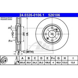 ATE 24.0326-0106.1 Тормозной диск Ситроен Ксантия