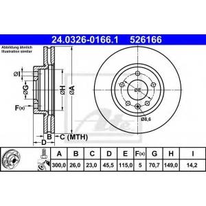 ATE 24.0326-0166.1 Тормозной диск Шевроле Круз