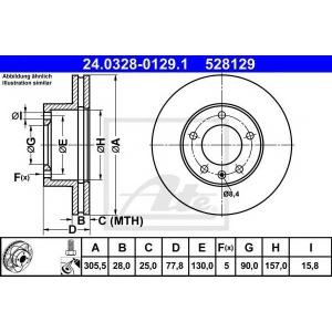 ATE 24.0328-0129.1 Тормозной диск Опель Мовано